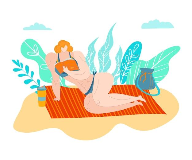Spiaggia bodipositive, persone donna grassa, modello attraente, donna in sovrappeso, giorno di vacanza, illustrazione. concetto di corpo giovane, ragazza taglie forti, stile di vita, moda costume da bagno.