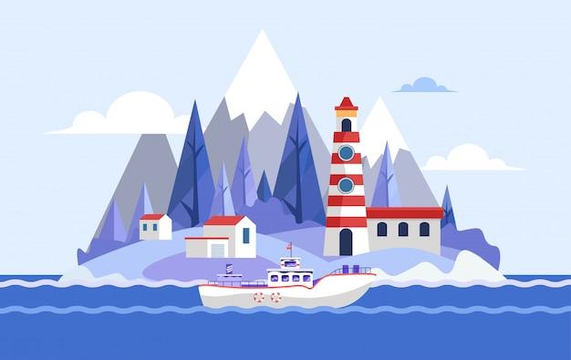 Spiaggia con l'illustrazione dell'yacht e del faro. vista sulla spiaggia dell'oceano o del mare. paesaggio con colline, barca, foresta.