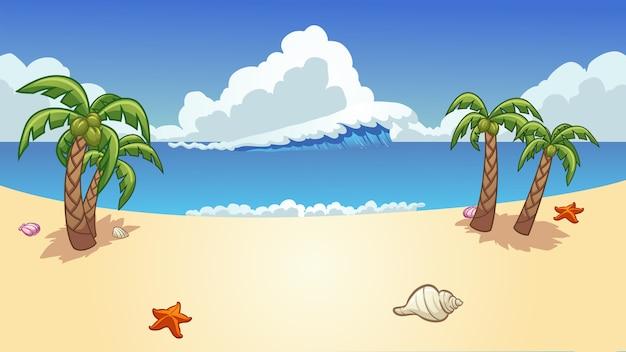Spiaggia con palme e cielo blu