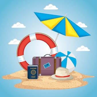Spiaggia con progettazione dell'illustrazione di vettore delle icone di vacanze estive
