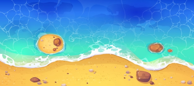 Spiaggia del mare di estate, vista superiore della riva sabbiosa dell'oceano
