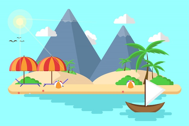 Spiaggia dell'isola per l'estate