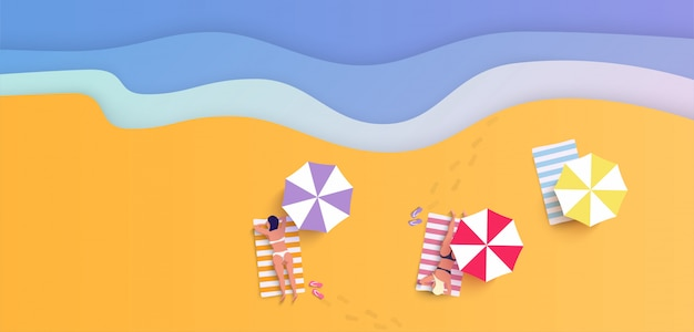 Spiaggia di estate con le donne in bikini nell'illustrazione piana di stile