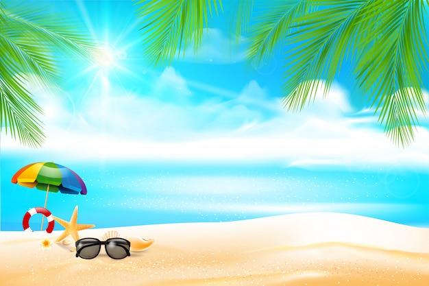 Spiaggia di sabbia astratta del fondo di estate con foglia di palma