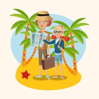 Spiaggia di sabbia della palma delle stelle marine della valigia della mappa della ragazza e della donna