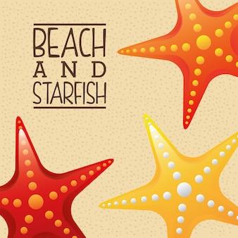Spiaggia e stelle marine sopra l'illustrazione di vettore del fondo della sabbia