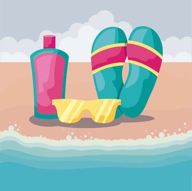 Spiaggia estiva con infradito e set di icone