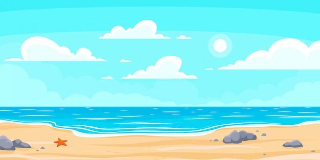 Spiaggia estiva dei cartoni animati. paradiso natura vacanza, mare o mare. illustrazione di sfondo paesaggio balneare