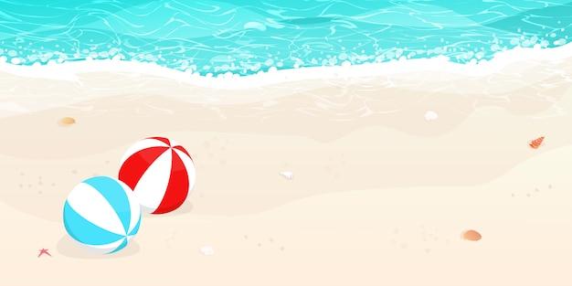 Spiaggia estiva, vettore di palloni da spiaggia