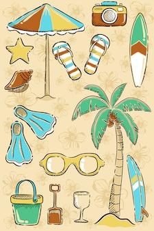 Spiaggia imposta disegno a mano cartoon