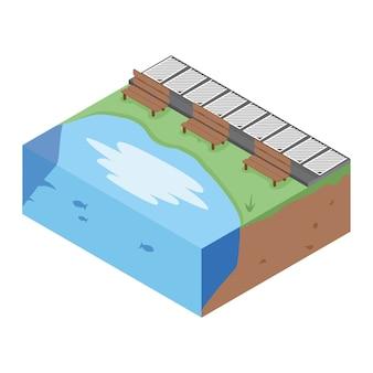 Spiaggia isometrica, illustrazione vettoriale