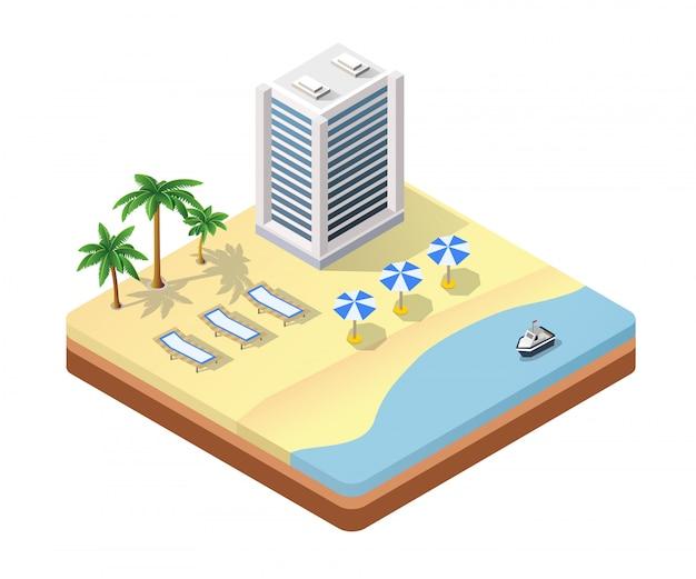 Spiaggia isometrica vista sul mare
