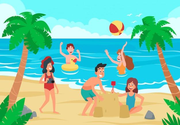 Spiaggia per bambini. il divertimento dei bambini felici sulla spiaggia di sabbia della riva di mare, i bambini che prendono il sole e che nuotano scherzano l'illustrazione del fumetto