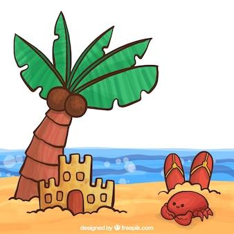 Spiaggia sfondo con elementi di estate disegnati a mano