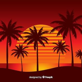 Spiaggia tramonto paesaggio sullo sfondo