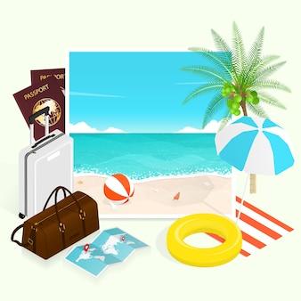 Spiaggia tropicale di estate, composizione negli elementi dell'illustrazione di piano di viaggio di vacanza