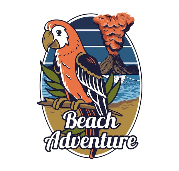 Spiaggia tropicale di estate delle hawai dell'uccello selvaggio esotico tropicale rosso con l'onda del mare dell'oceano e il grande vulcano attivo