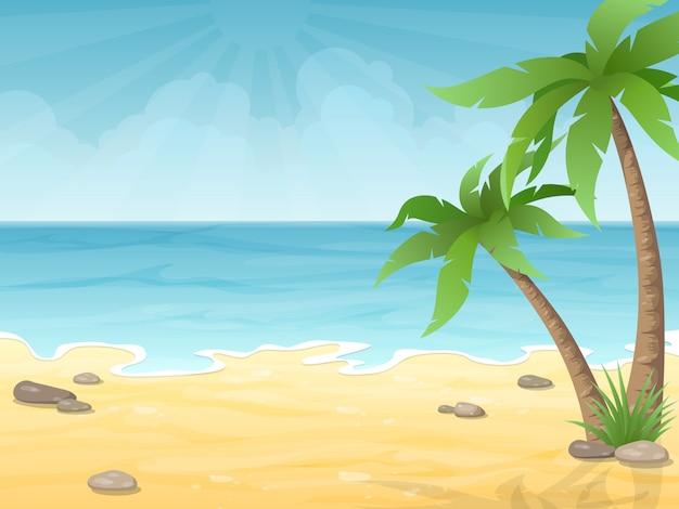 Spiaggia tropicale fondo della natura di vacanza con palme, sabbia e mare.