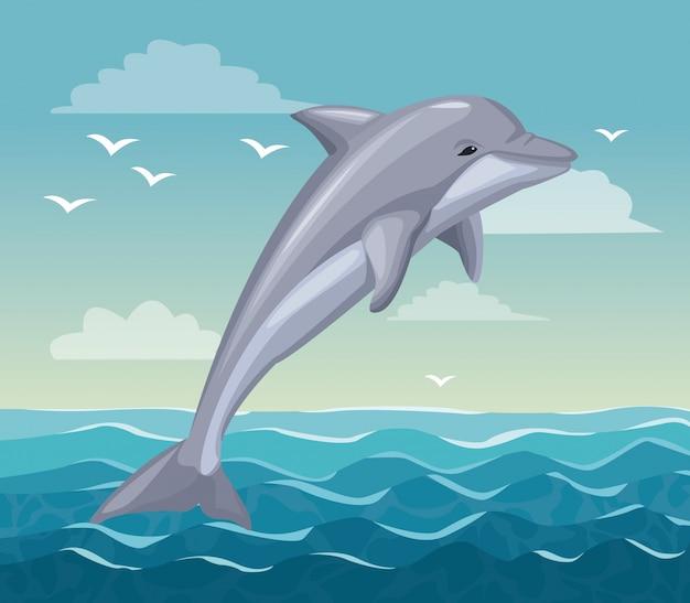 Spiaggia variopinta del manifesto con il mammifero del delfino in oceano