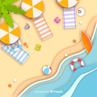 Spiaggia vista dall'alto in stile carta