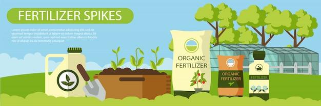 Spighe organiche del fertilizzante dell'insegna piana orizzontale.
