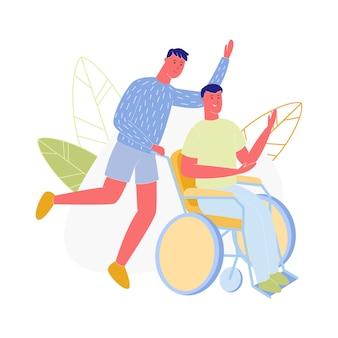 Spinta del giovane disabilitato guy sitting in sedia a rotelle