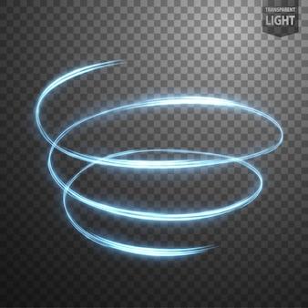 Spirale incandescente su sfondo trasparente