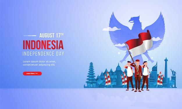 Spirito del patriottismo giovanile con l'illustrazione della bandiera rossa e bianca per il concetto indonesiano di festa nazionale