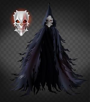 Spirito di morte, fantasma spaventoso, demone malvagio in cappa lacera con cappuccio