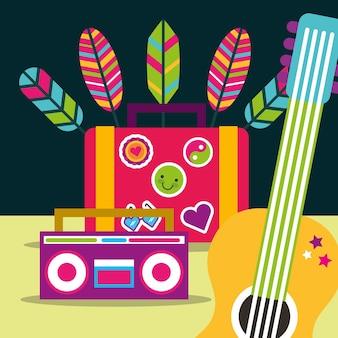 Spirito libero della piuma della valigia della chitarra e della radio