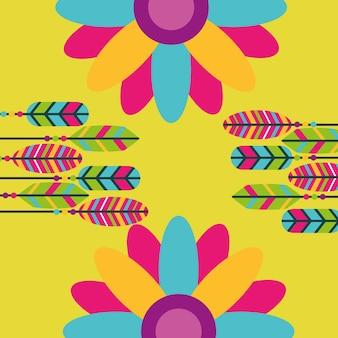 Spirito libero retrò di fiori colorati piume hippie