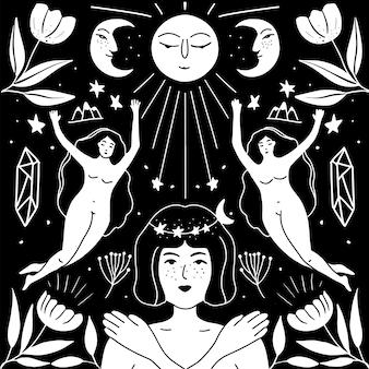 Spiritualmente ragazze boho disegnate a mano con la luna e le stelle