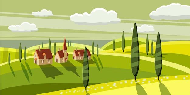 Splendida campagna, fattoria, villaggio, mucche al pascolo, pecore, fiori, nuvole