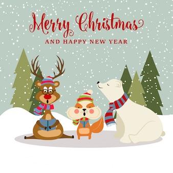 Splendida cartolina di natale con renne