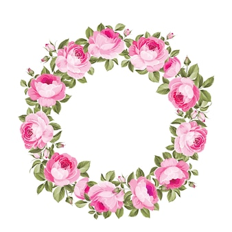 Splendida ghirlanda di ghirlande di rose in fiore