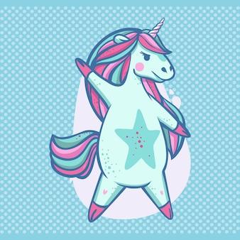 Splendida superstar di unicorno danzante blu chiaro