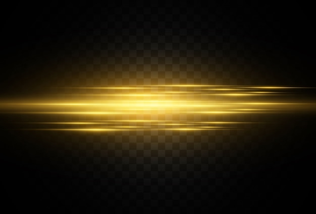 Splendido bagliore orizzontale luminoso. bagliore dorato strisce chiare su uno sfondo scuro. raggi gialli.
