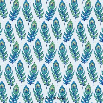 Splendido motivo di piume di pavone con design piatto
