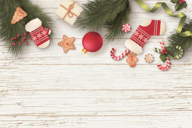 Splendido sfondo di natale con regali e ornamenti