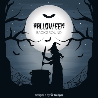Spooky halloween background con design piatto