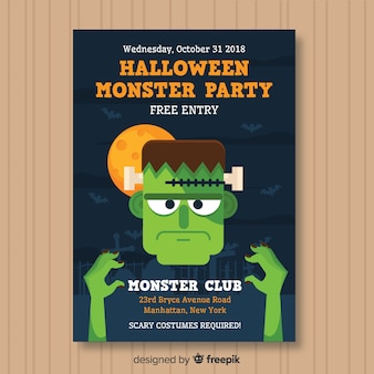 Spooky poster di halloween party con design piatto