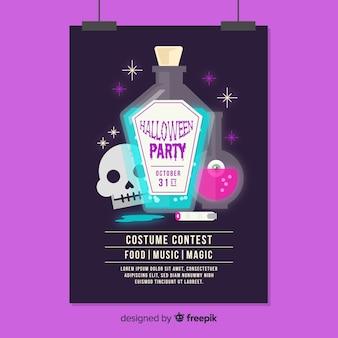Spooky poster di halloween party con design piatto
