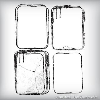 Sporchi striscioni cornice bianca vettore texture