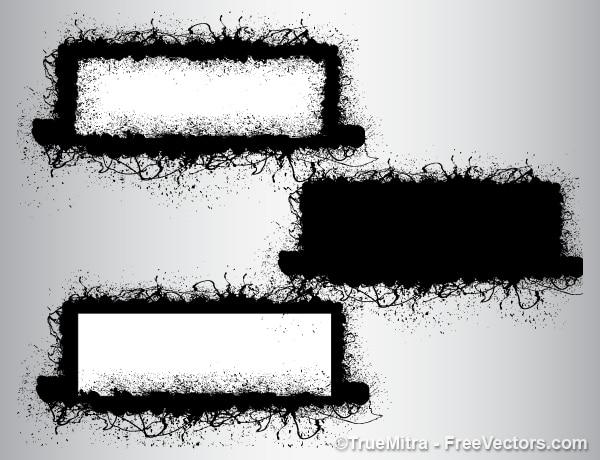 Sporco grunge pennelli banner sfondo vector set