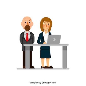Sporgenza seria accanto al suo dipendente