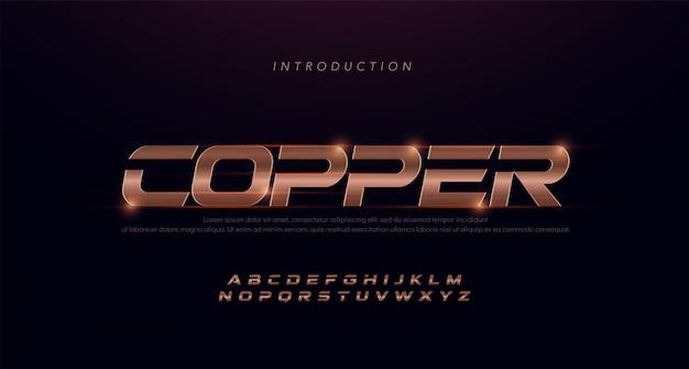 Sport alfabeto corsivo moderno carattere di rame. caratteri tipografici in rame sottile in acciaio inossidabile 3d