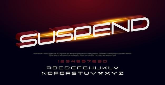 Sport alfabeto corsivo moderno carattere e numero. caratteri tipografici in stile urbano con luci