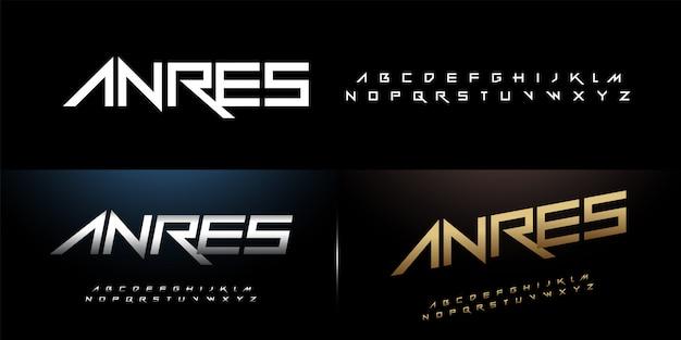 Sport alfabeto moderno carattere rock argento e oro