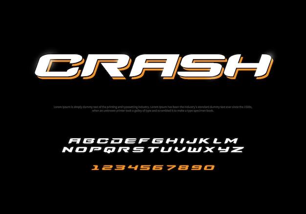 Sport alfabeto moderno e caratteri numerici. carattere tipografico di crash maiuscolo e minuscolo