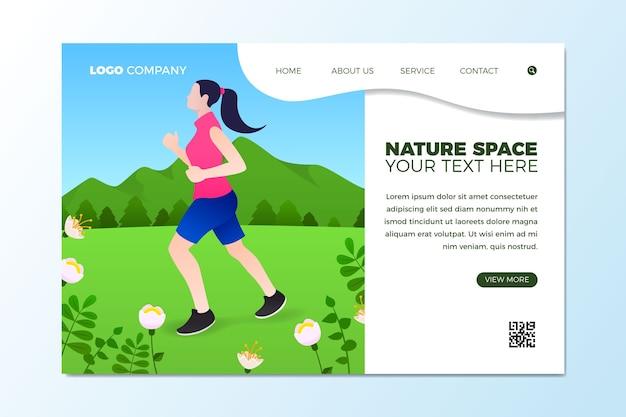 Sport all'aperto del modello della pagina di destinazione design piatto